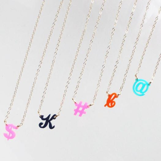 Acrylic Script Mini Initial Necklace by Moon and Lola Apparel & Accessories > Jewelry > Necklaces - 3