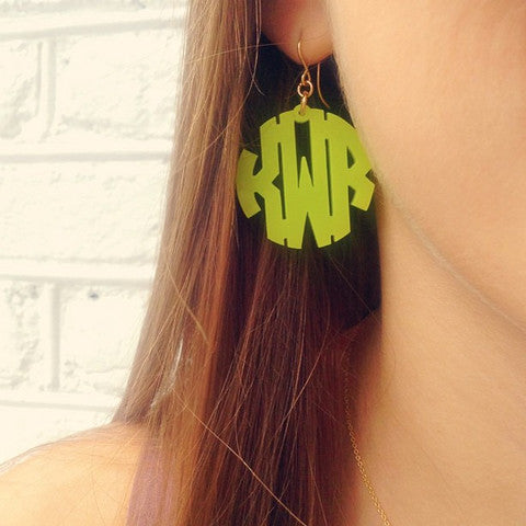 Acrylic Block Monogram Earrings  by Moon and Lola Apparel & Accessories > Jewelry > Earrings - 1