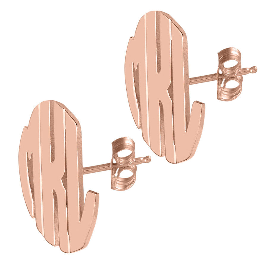 Rose Gold Block Post Earrings by Purple Mermaid Designs Apparel & Accessories > Jewelry > Earrings