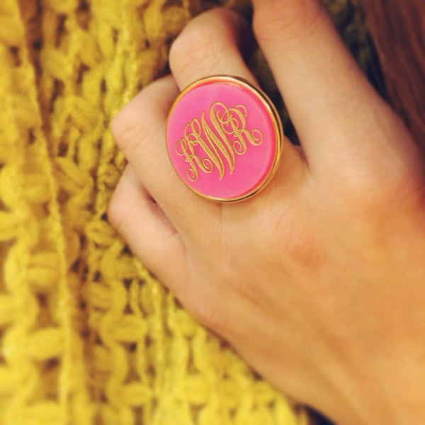 Acrylic Vineyard Round Monogram Ring by Moon and Lola Apparel & Accessories > Jewelry > Rings - 4