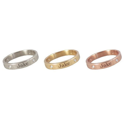 Personalized 14K Gold Diamond Band Ring