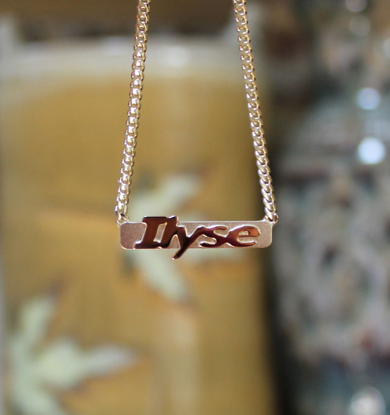 Raised Letter Name Bar Necklace by Purple Mermaid Designs Apparel & Accessories > Jewelry > Necklaces - 3