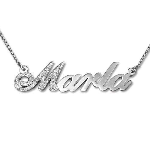 de12aef241eed 14K White Gold Diamond Nameplate Necklace
