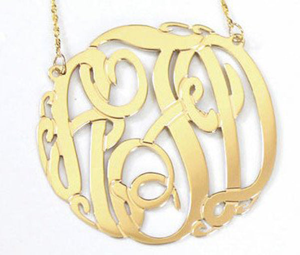 14K Gold Monogram Necklace - Big Slim by Purple Mermaid Designs Apparel & Accessories > Jewelry > Necklaces - 1
