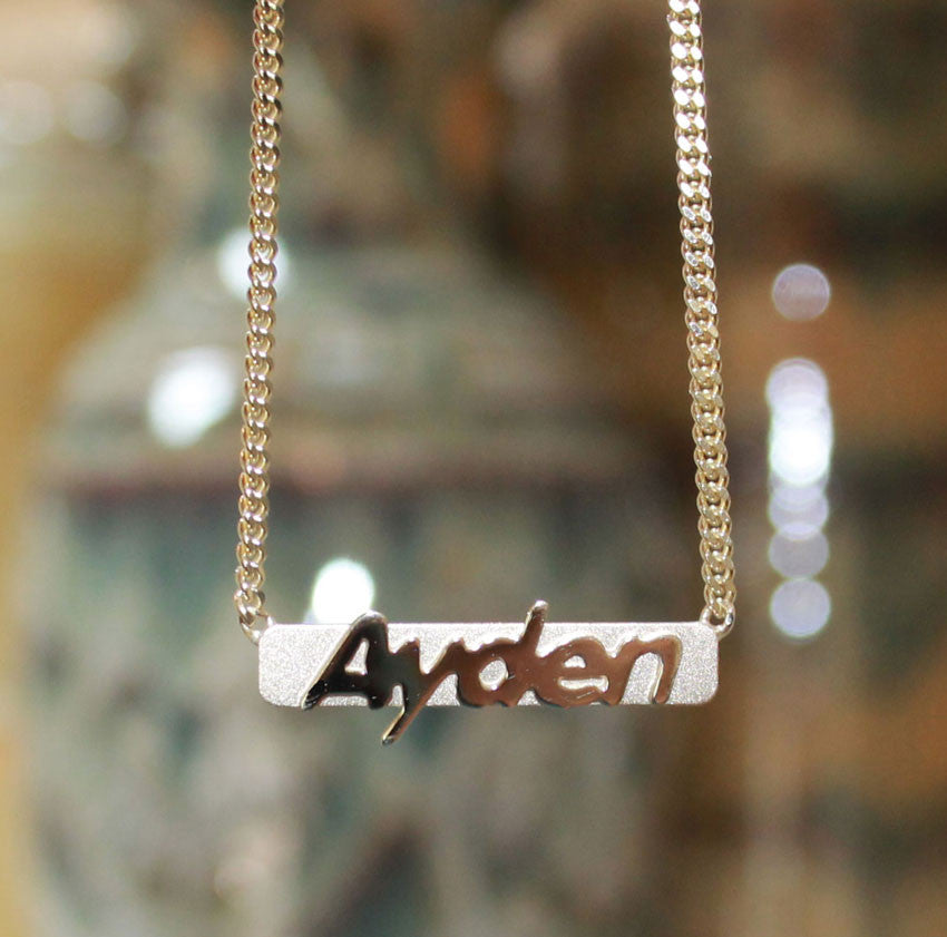 Raised Letter Name Bar Necklace by Purple Mermaid Designs Apparel & Accessories > Jewelry > Necklaces - 1