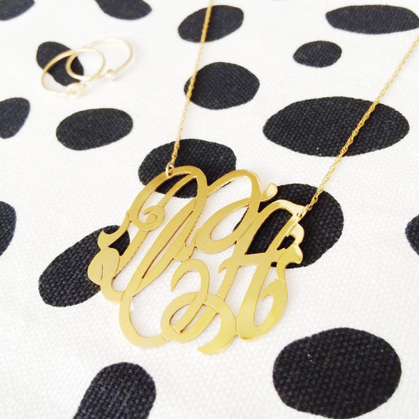 Moon and Lola Gold Filled Cutout Monogram Necklace Apparel & Accessories > Jewelry > Necklaces - 5