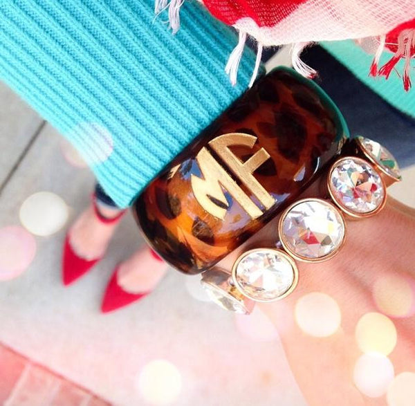Acrylic Tortoise Shell Monogram Cuff Bracelet by Moon and Lola Apparel & Accessories > Jewelry > Bracelets - 5