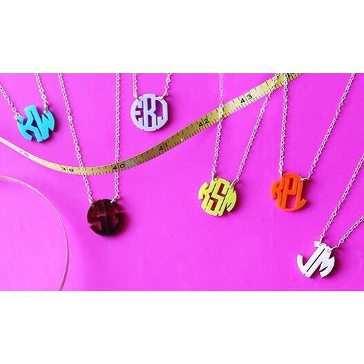 Acrylic Mini Monogram Necklace - Moon and Lola Apparel & Accessories > Jewelry > Necklaces - 6