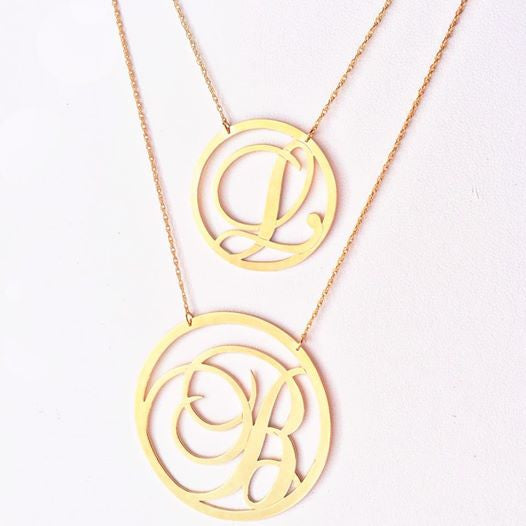 Moon and Lola Beso Rimmed Script Initial Necklace Apparel & Accessories > Jewelry > Necklaces - 2