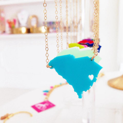 Acrylic State Necklace by Moon and Lola Apparel & Accessories > Jewelry > Necklaces - 1