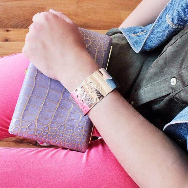 Gold Monogram Cuff Bracelet by Moon and Lola Apparel & Accessories > Jewelry > Bracelets - 2