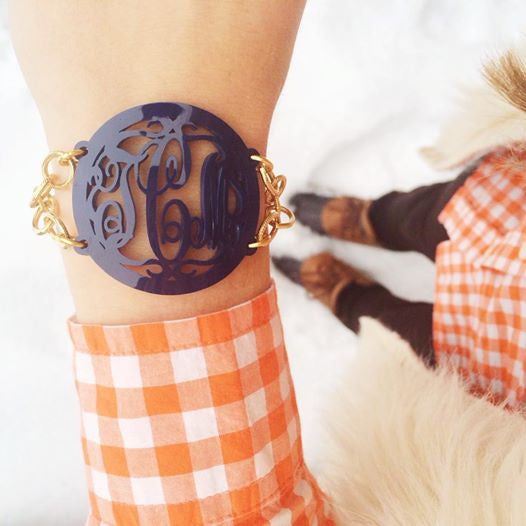 Acrylic Rimmed Script Monogram Bracelet  by Moon and Lola Apparel & Accessories > Jewelry > Bracelets - 1