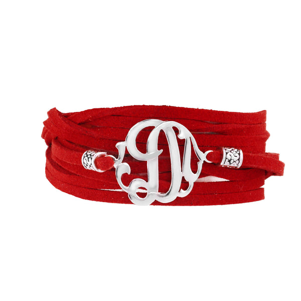 Leather Wrap Initial Bracelet-Lots of Colors-Shame on Jane Apparel & Accessories > Jewelry > Bracelets - 5