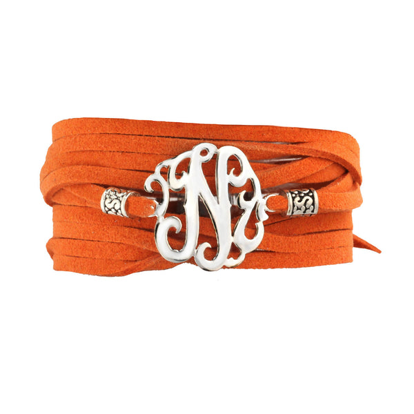 Leather Wrap Initial Bracelet-Lots of Colors-Shame on Jane Apparel & Accessories > Jewelry > Bracelets - 1