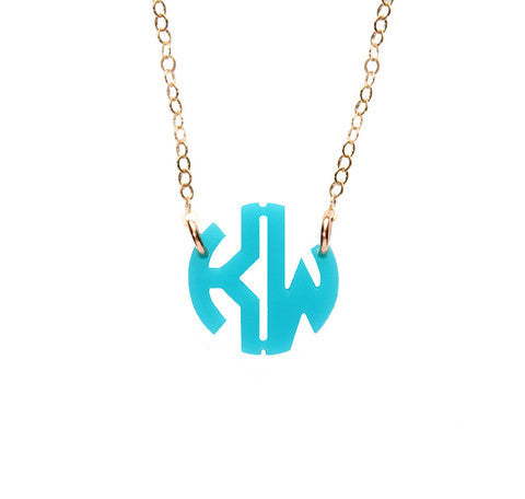 Acrylic Round Monogram Necklace by Moon and Lola Apparel & Accessories > Jewelry > Necklaces - 4