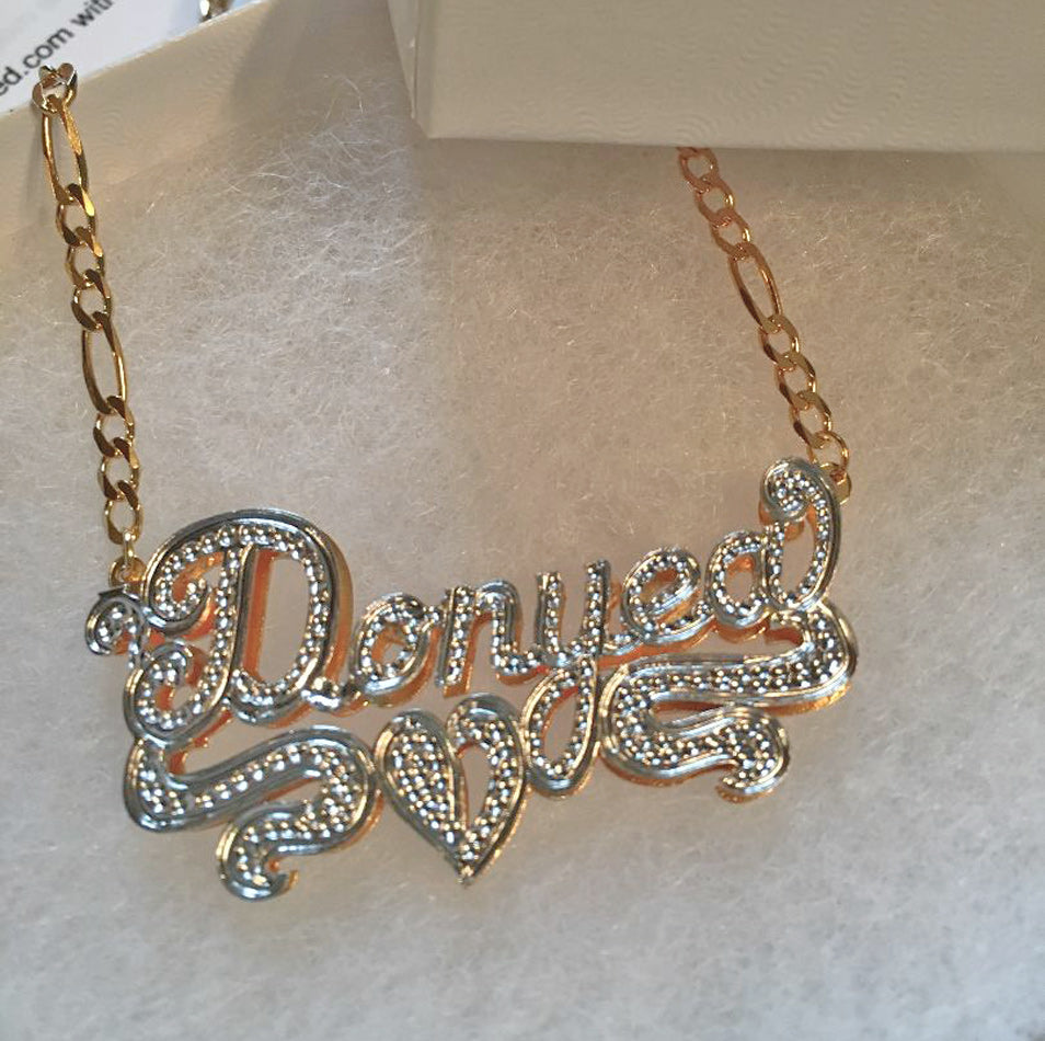 Custom 3D Double Plated Cutout Name Necklace 5