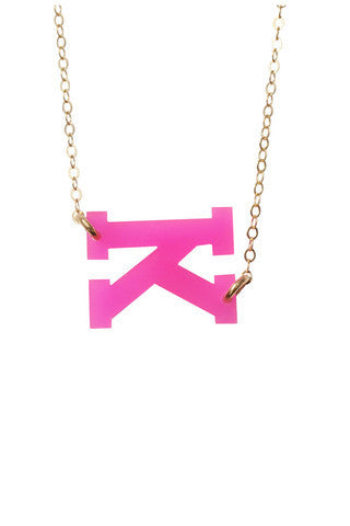Acrylic Sideways Initial Necklace by Moon and Lola Apparel & Accessories > Jewelry > Necklaces - 1