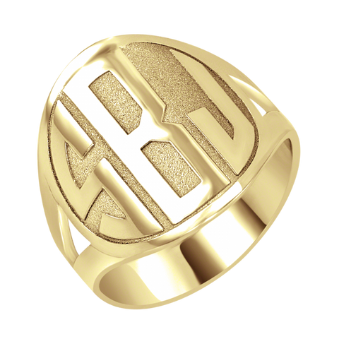 Block Recessed Monogram Ring Apparel & Accessories > Jewelry > Rings