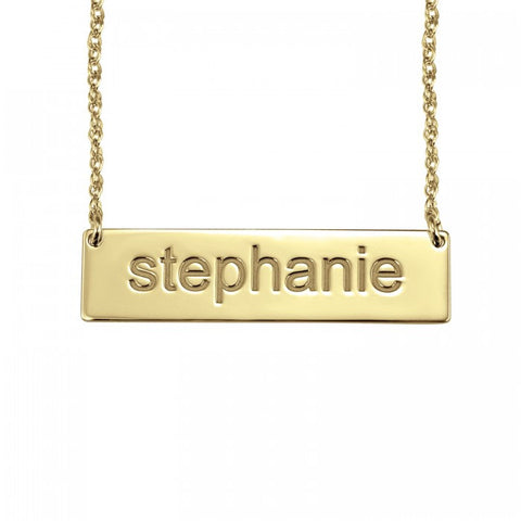 Block Letter Name Bar Necklace - Alison and Ivy Apparel & Accessories > Jewelry > Necklaces - 1