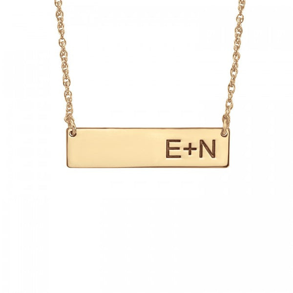 Initials Bar Necklace - Alison and Ivy Apparel & Accessories > Jewelry > Necklaces - 1