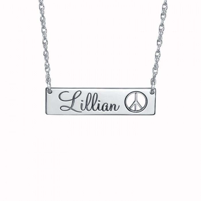 Cutout Peace Sign Name Bar Necklace Apparel & Accessories > Jewelry > Necklaces