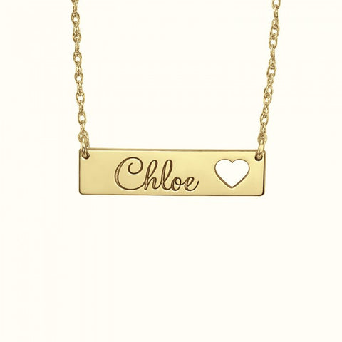 Cutout Heart Name Bar Necklace Apparel & Accessories > Jewelry > Necklaces