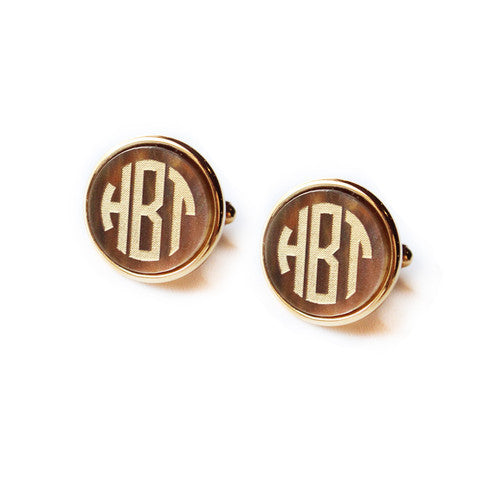 Vineyard Monogram Round Cuff Links by Moon and Lola Apparel & Accessories > Jewelry > Cufflinks - 1