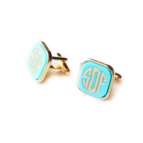 Vineyard Monogram Square Cuff Links by Moon and Lola Apparel & Accessories > Jewelry > Cufflinks - 1