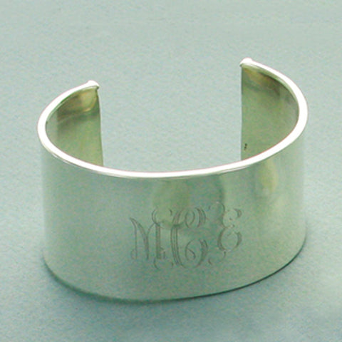 Sterling Silver Large Concave Monogram Cuff Bracelet Apparel & Accessories > Jewelry > Bracelets - 1