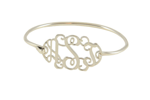 Sterling Silver Filigree Monogram Bangle Bracelet Apparel & Accessories > Jewelry > Bracelets