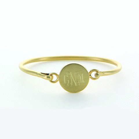 Monogram Brushed Gold Round Bangle Bracelet Apparel & Accessories > Jewelry > Bracelets - 1