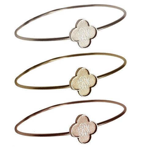 14K Gold Clover Bangle Bracelet Apparel & Accessories > Jewelry > Bracelets