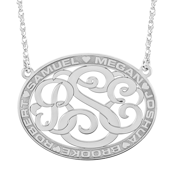 Classic Border Oval Monogram Mothers Necklace-Alison and Ivy Apparel & Accessories > Jewelry > Necklaces - 2