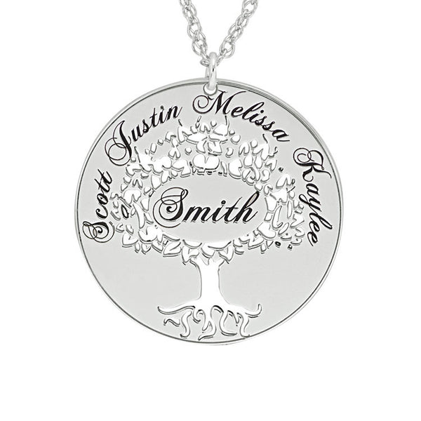 Cutout Family Tree Mothers Necklace-Alison and Ivy Apparel & Accessories > Jewelry > Necklaces - 2