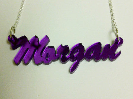 Script Acrylic Nameplate Necklace by Purple Mermaid Designs Apparel & Accessories > Jewelry > Necklaces - 2