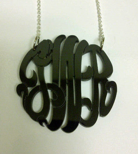Acrylic Monogram Necklace on Split Chain by Purple Mermaid Designs Apparel & Accessories > Jewelry > Necklaces - 5