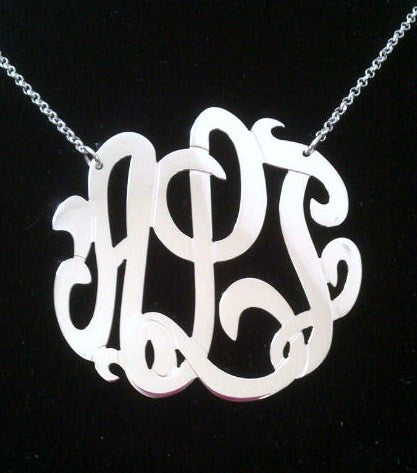 Sterling Silver Monogram Necklace-1 3/4 Inch-Purple Mermaid Designs Apparel & Accessories > Jewelry > Necklaces