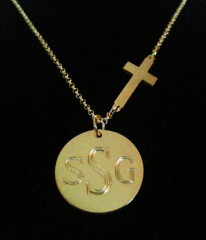 Gold Engraved Disc and Side Cross Necklace by Purple Mermaid Designs Apparel & Accessories > Jewelry > Necklaces - 1