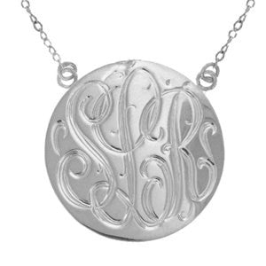 Sterling Silver Hand Engraved Disc Necklace by Purple Mermaid Designs Apparel & Accessories > Jewelry > Necklaces