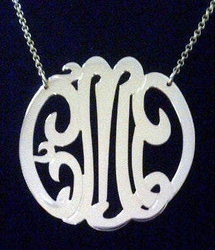 Sterling Silver Monogram Necklace-2 Inch-Purple Mermaid Designs Apparel & Accessories > Jewelry > Necklaces