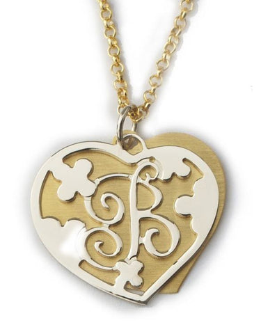 Mixed Metal Double Heart Initial Necklace by Purple Mermaid Designs Apparel & Accessories > Jewelry > Necklaces - 1