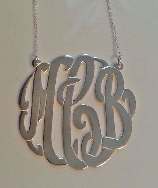 Sterling Silver Monogram Split Chain Necklace-Purple Mermaid Designs Apparel & Accessories > Jewelry > Necklaces - 6