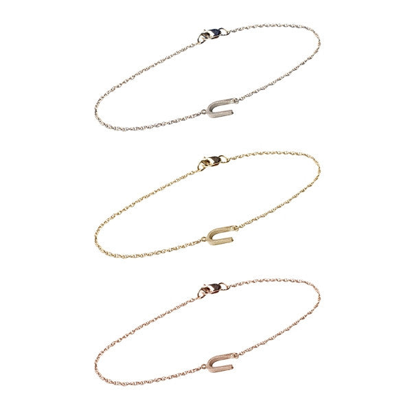 14K Gold Block Sideways Initial Bracelet by Golden Thread Apparel & Accessories > Jewelry > Bracelets