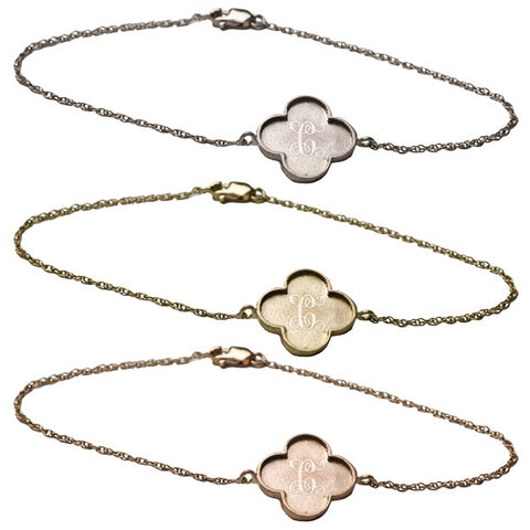 14K Gold Clover Monogram Bracelet Apparel & Accessories > Jewelry > Bracelets