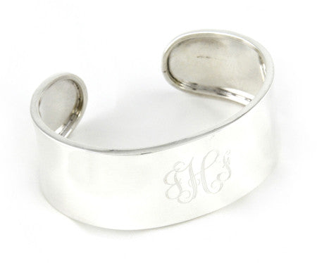 Sterling Silver Wide Concave Monogram Cuff Bracelet Apparel & Accessories > Jewelry > Bracelets - 1