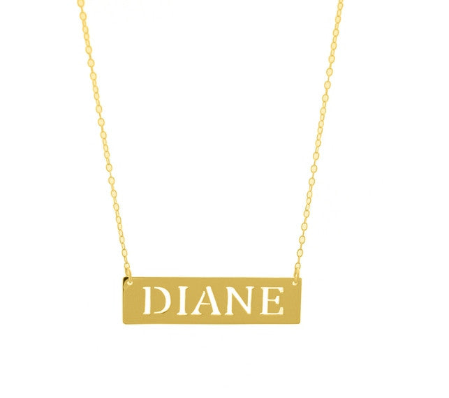 Pierced Name Bar Necklace Apparel & Accessories > Jewelry > Necklaces - 1