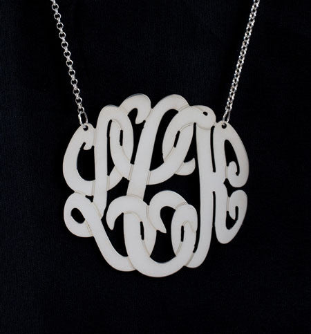 Sterling Silver Monogram Necklace-1 1/4 Inch-Purple Mermaid Designs Apparel & Accessories > Jewelry > Necklaces