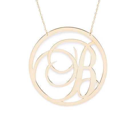 Moon and Lola Beso Rimmed Script Initial Necklace Apparel & Accessories > Jewelry > Necklaces - 1