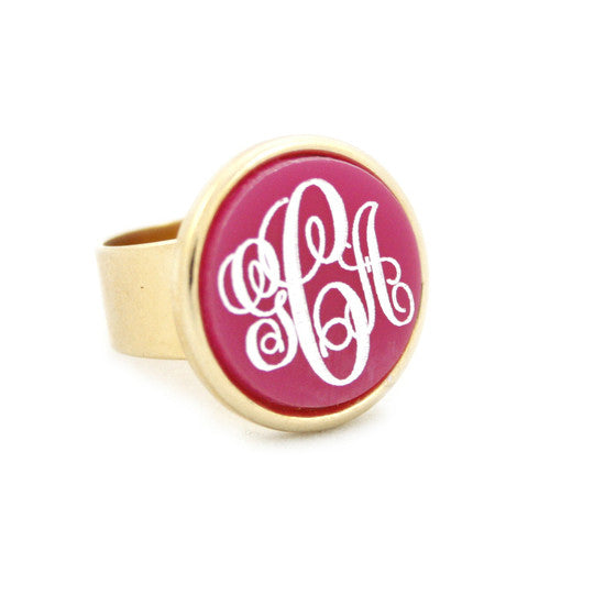 Round Acrylic Bezel Monogram Ring Apparel & Accessories > Jewelry > Rings - 1