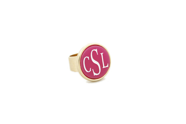 Round Acrylic Bezel Monogram Ring Apparel & Accessories > Jewelry > Rings - 2